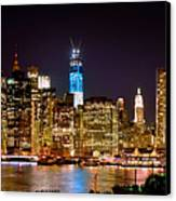 New York City Tribute In Lights And Lower Manhattan At Night Nyc Canvas Print by Jon Holiday