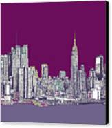 New York In Purple Canvas Print by Lee-Ann Adendorff