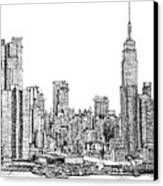 New York Skyline In Ink Canvas Print by Adendorff Design