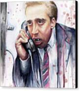 Nicolas Cage A Vampire's Kiss Watercolor Art Canvas Print by Olga Shvartsur