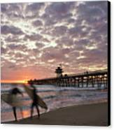 Night Surfing Canvas Print by Gary Zuercher