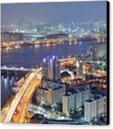 Night View Of Seoul Canvas Print by Tokism