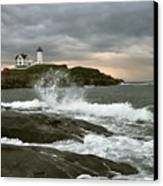 Nubble Light In A Storm Canvas Print by Rick Frost