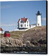 Nubble Lighthouse Canvas Print by Thomas  Jarvais