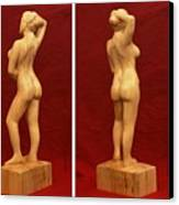 Nude Female Impressionistic Wood Sculpture Donna Canvas Print by Mike Burton