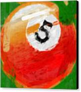 Number Five Billiards Ball Abstract Canvas Print by David G Paul