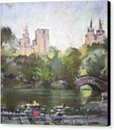 Nyc Resting In Central Park Canvas Print by Ylli Haruni