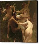 Nymphs And Satyr Canvas Print by William Adolphe Bouguereau