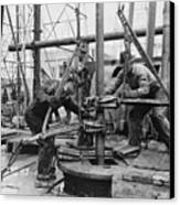Oil Rig Workers, Called Roughnecks Canvas Print by Everett
