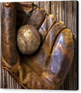Old Baseball Mitt And Ball Canvas Print by Garry Gay