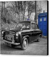 Old British Police Car And Tardis Canvas Print by Yhun Suarez