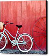 Old Red Barn And Bicycle Canvas Print by Margaret Hood