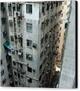 Old Run-down Concrete High-rise Apartment Buildings In Kowloon Canvas Print by Sami Sarkis