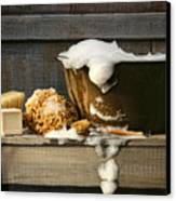 Old Wash Tub With Soap On Bench Canvas Print by Sandra Cunningham