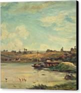 On The Loire Canvas Print by Charles Francois Daubigny
