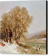 On The River Neckar Near Heidelberg Canvas Print by Joseph Paul Pettit