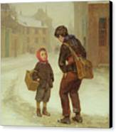 On The Way To School In The Snow Canvas Print by Pierre Edouard Frere