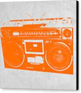 Orange Boombox Canvas Print by Naxart Studio