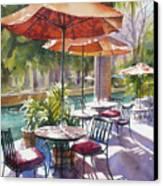 Orange Umbrellas Canvas Print by Sue Zimmermann
