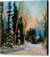 Ormstown Quebec Winter Road Canvas Print by Carole Spandau