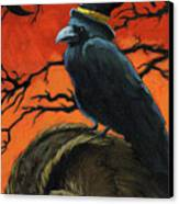 Owl And Crow Halloween Canvas Print by Linda Apple