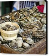Oysters At The Market Canvas Print by Heather Applegate