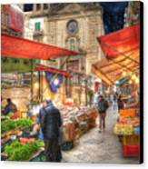 Palermo Market Place Canvas Print by Juli Scalzi