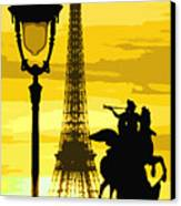 Paris Tour Eiffel Yellow Canvas Print by Yuriy  Shevchuk