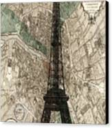 Paris Vintage Map And Eiffel Tower Canvas Print by Georgia Fowler