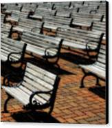 Park Benches Canvas Print by Perry Webster