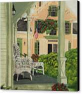 Patriotic Country Porch Canvas Print by Charlotte Blanchard