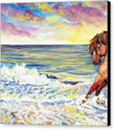 Pawing The Surf Canvas Print by Jenn Cunningham