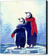 Penquins An Christmas Star Canvas Print by Peggy Wilson