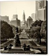 Philadelphia Benjamin Franklin Parkway In Sepia Canvas Print by Bill Cannon