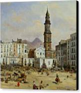 Piazza Mazaniello In Naples Canvas Print by Jean Auguste Bard