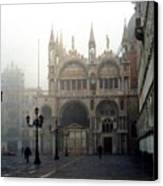 Piazzetta San Marco In Venice In The Morning Fog Canvas Print by Michael Henderson