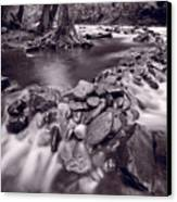 Pigeon Forge River Great Smoky Mountains Bw Canvas Print by Steve Gadomski