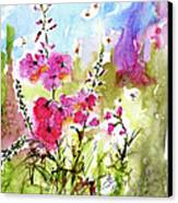 Pink Lavatera Watercolor Painting By Ginette Canvas Print by Ginette Callaway