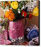 Pitcher Of Flowers Still Life Canvas Print by Garry Gay