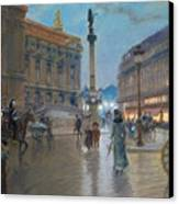Place De L Opera In Paris Canvas Print by Georges Stein