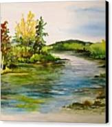 Plein Air At Grand Beach Lagoon Canvas Print by Joanne Smoley