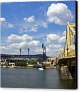 Pnc Park And Roberto Clemente Bridge Pittsburgh Pa Canvas Print by Kristen Vota