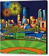 Pnc Park Fireworks Canvas Print by Ron Magnes