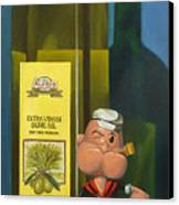 Popeye And Olive Oil Canvas Print by Judy Sherman