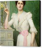 Portrait Of A Lady Holding A Fan Canvas Print by Jules-Charles Aviat