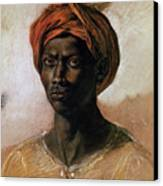 Portrait Of A Turk In A Turban Canvas Print by Ferdinand Victor Eugene Delacroix