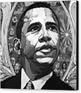 Portrait Of Barak Obama Canvas Print by John Gibbs