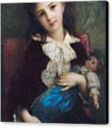 Portrait Of Catherine Du Bouchage Canvas Print by Antoine Auguste Ernest Hebert
