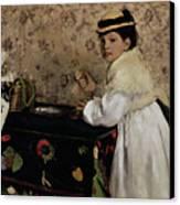 Portrait Of Hortense Valpincon As A Child Canvas Print by Edgar Degas