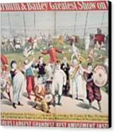 Poster Advertising The Barnum And Bailey Greatest Show On Earth Canvas Print by American School